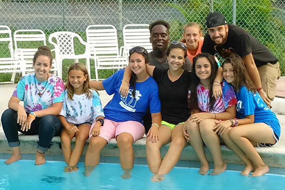 b5ec316b84b7 Campers Ice Cream Fun · Day Camp Counselors Poolside